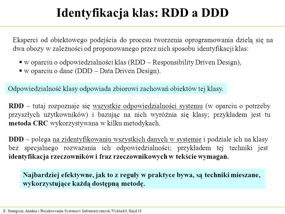 E. Stemposz, Analiza i Projektowanie Systemów Informatycznych, Wykład 6, Slajd 18 Identyfikacja klas: RDD a DDD Eksperci od obiektowego podejścia do p