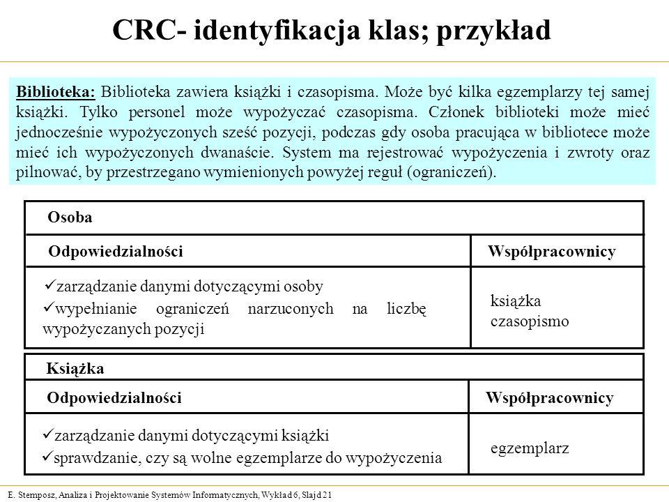 E. Stemposz, Analiza i Projektowanie Systemów Informatycznych, Wykład 6, Slajd 21 CRC- identyfikacja klas; przykład Osoba OdpowiedzialnościWspółpracow