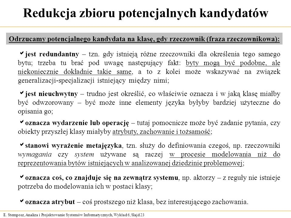 E. Stemposz, Analiza i Projektowanie Systemów Informatycznych, Wykład 6, Slajd 23 Redukcja zbioru potencjalnych kandydatów Odrzucamy potencjalnego kan