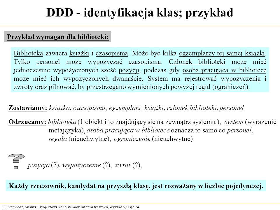 E. Stemposz, Analiza i Projektowanie Systemów Informatycznych, Wykład 6, Slajd 24 DDD - identyfikacja klas; przykład Przykład wymagań dla biblioteki: