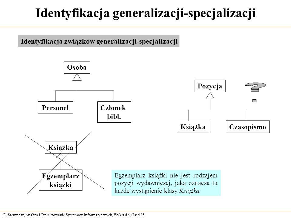 E. Stemposz, Analiza i Projektowanie Systemów Informatycznych, Wykład 6, Slajd 25 Identyfikacja generalizacji-specjalizacji Osoba Personel Członek bib