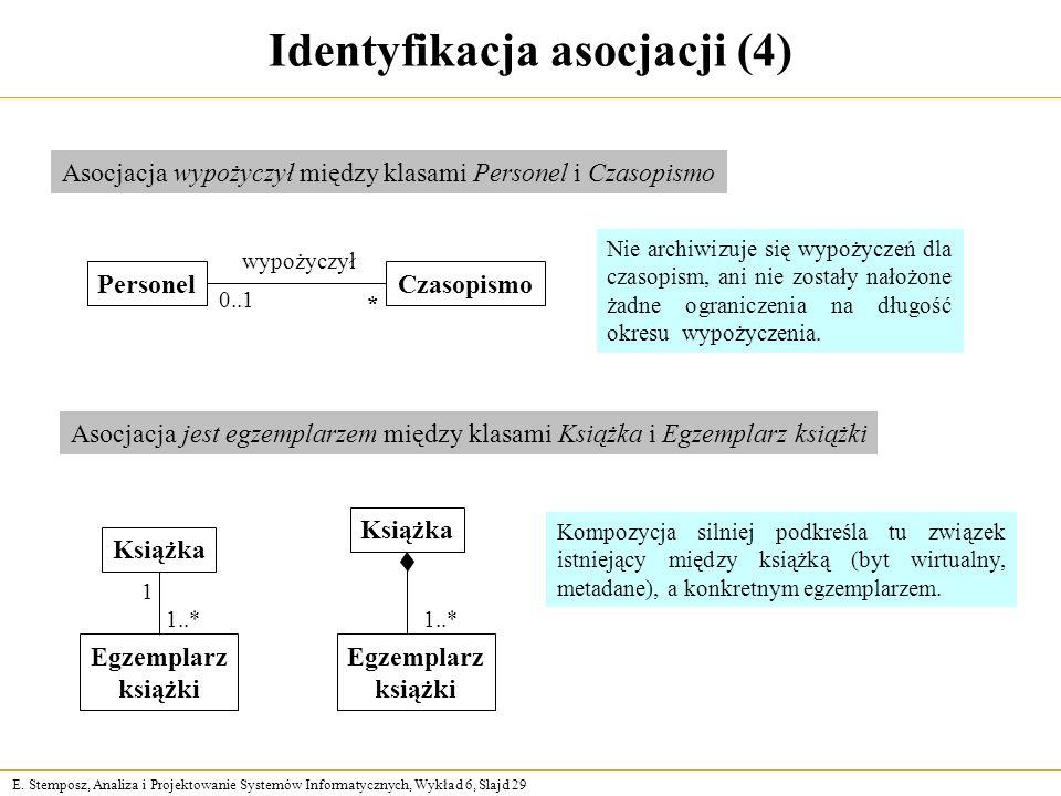 E. Stemposz, Analiza i Projektowanie Systemów Informatycznych, Wykład 6, Slajd 29 Identyfikacja asocjacji (4) PersonelCzasopismo wypożyczył 0..1 * Aso