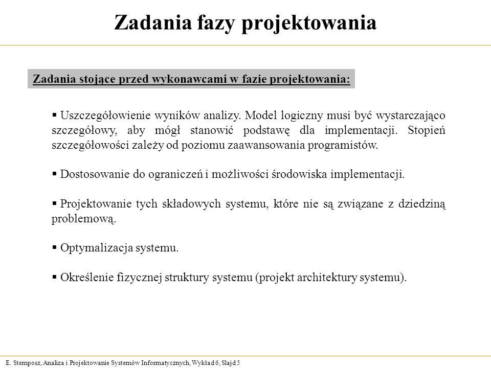 E. Stemposz, Analiza i Projektowanie Systemów Informatycznych, Wykład 6, Slajd 5 Zadania fazy projektowania Uszczegółowienie wyników analizy. Model lo