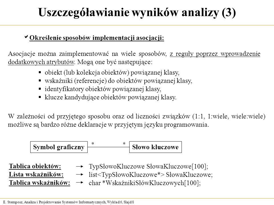 E. Stemposz, Analiza i Projektowanie Systemów Informatycznych, Wykład 6, Slajd 8 Uszczegóławianie wyników analizy (3) Określenie sposobów implementacj