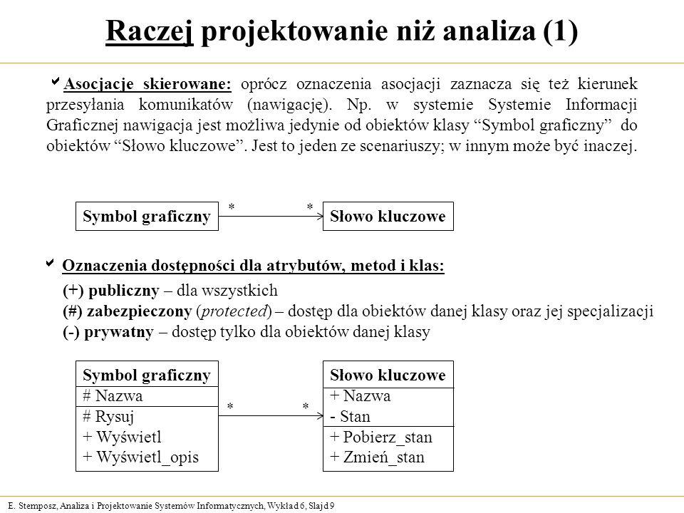 E. Stemposz, Analiza i Projektowanie Systemów Informatycznych, Wykład 6, Slajd 9 Raczej projektowanie niż analiza (1) Asocjacje skierowane: oprócz ozn