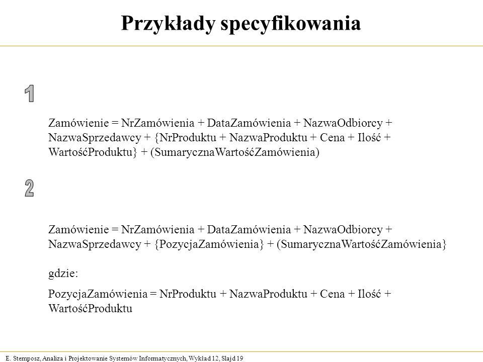 E. Stemposz, Analiza i Projektowanie Systemów Informatycznych, Wykład 12, Slajd 19 Przykłady specyfikowania Zamówienie = NrZamówienia + DataZamówienia