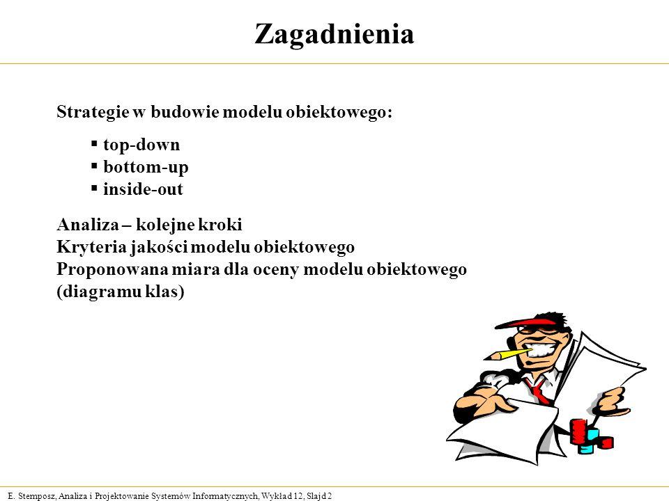 E. Stemposz, Analiza i Projektowanie Systemów Informatycznych, Wykład 12, Slajd 2 Zagadnienia Strategie w budowie modelu obiektowego: top-down bottom-