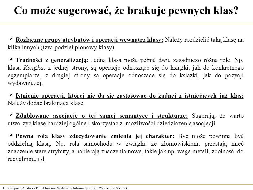 E. Stemposz, Analiza i Projektowanie Systemów Informatycznych, Wykład 12, Slajd 24 Co może sugerować, że brakuje pewnych klas? Rozłączne grupy atrybut