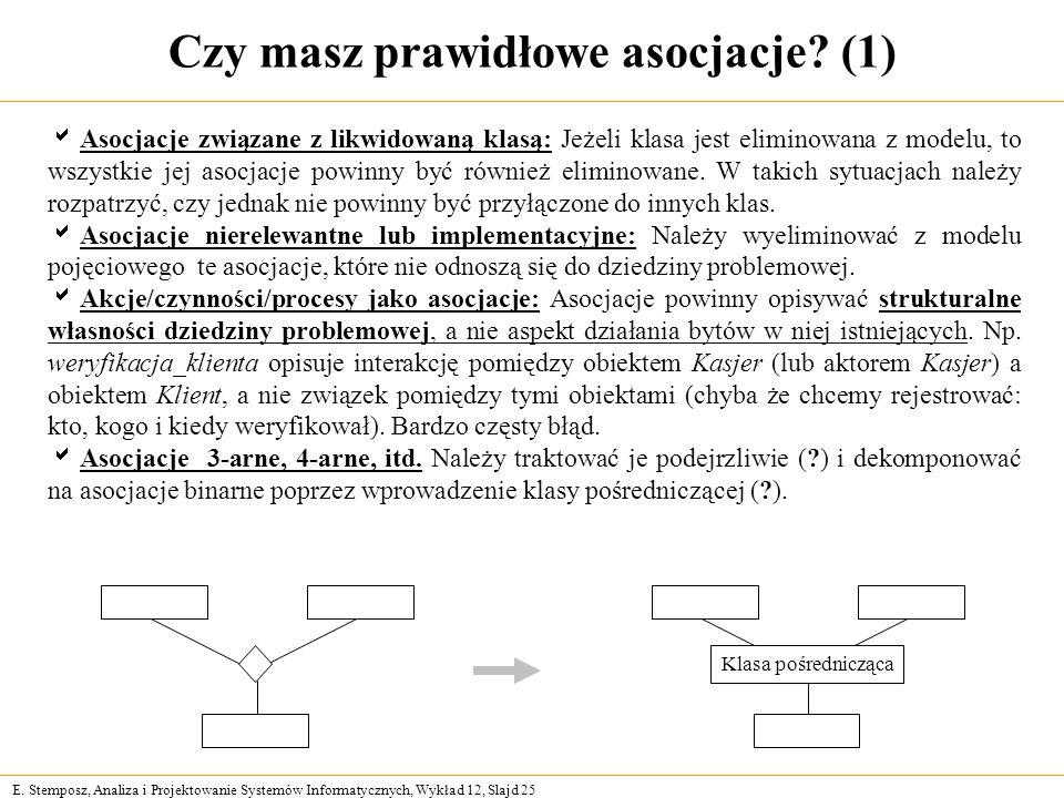 E. Stemposz, Analiza i Projektowanie Systemów Informatycznych, Wykład 12, Slajd 25 Czy masz prawidłowe asocjacje? (1) Asocjacje związane z likwidowaną