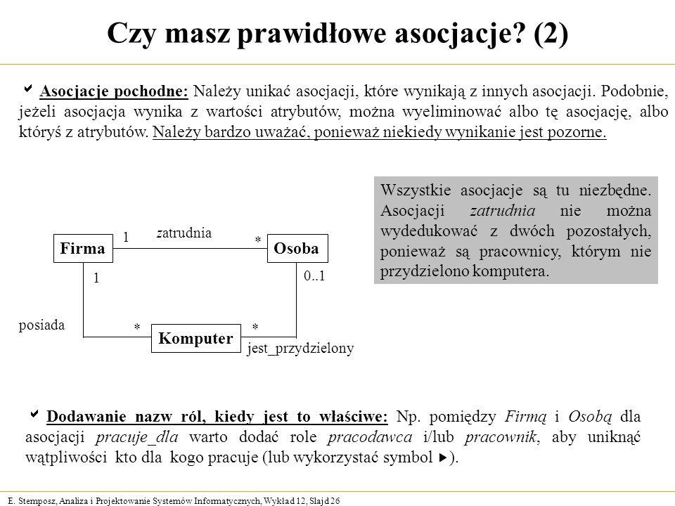 E. Stemposz, Analiza i Projektowanie Systemów Informatycznych, Wykład 12, Slajd 26 Czy masz prawidłowe asocjacje? (2) posiada Dodawanie nazw ról, kied