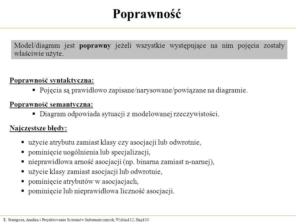 E. Stemposz, Analiza i Projektowanie Systemów Informatycznych, Wykład 12, Slajd 30 Poprawność Poprawność syntaktyczna: Pojęcia są prawidłowo zapisane/
