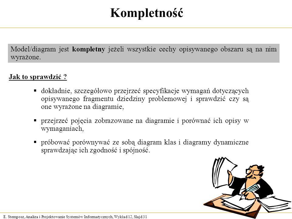 E. Stemposz, Analiza i Projektowanie Systemów Informatycznych, Wykład 12, Slajd 31 Kompletność Jak to sprawdzić ? dokładnie, szczegółowo przejrzeć spe
