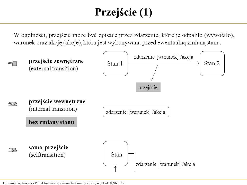 E. Stemposz, Analiza i Projektowanie Systemów Informatycznych, Wykład 10, Slajd 12 Przejście (1) W ogólności, przejście może być opisane przez zdarzen