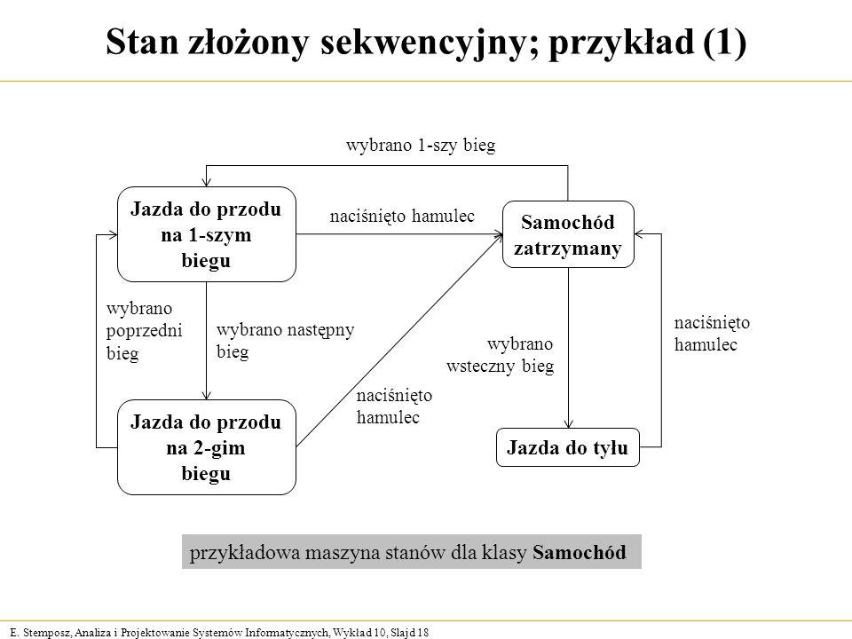 E. Stemposz, Analiza i Projektowanie Systemów Informatycznych, Wykład 10, Slajd 18 Stan złożony sekwencyjny; przykład (1) Jazda do przodu na 1-szym bi
