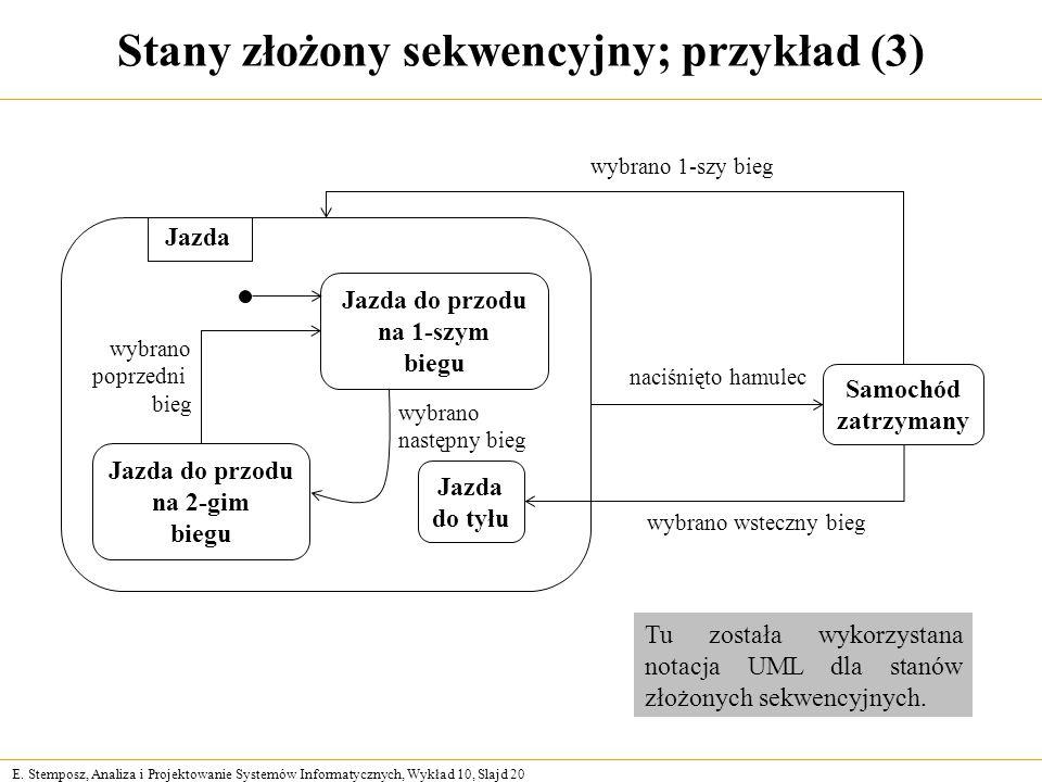 E. Stemposz, Analiza i Projektowanie Systemów Informatycznych, Wykład 10, Slajd 20 Stany złożony sekwencyjny; przykład (3) Samochód zatrzymany Jazda d