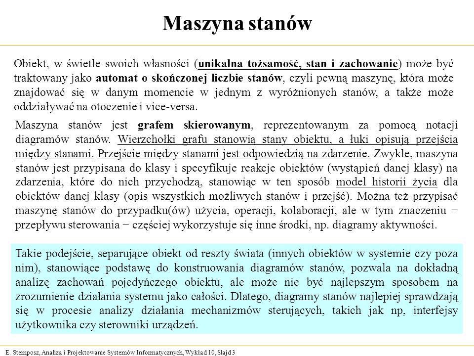 E. Stemposz, Analiza i Projektowanie Systemów Informatycznych, Wykład 10, Slajd 3 Maszyna stanów Obiekt, w świetle swoich własności (unikalna tożsamoś