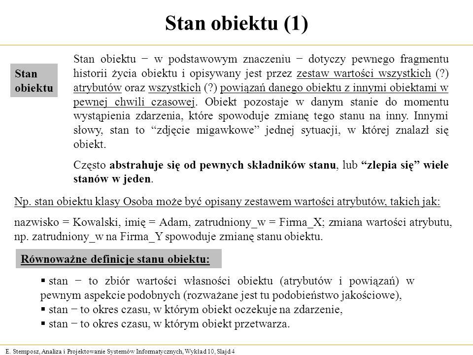 E. Stemposz, Analiza i Projektowanie Systemów Informatycznych, Wykład 10, Slajd 4 Stan obiektu (1) Np. stan obiektu klasy Osoba może być opisany zesta