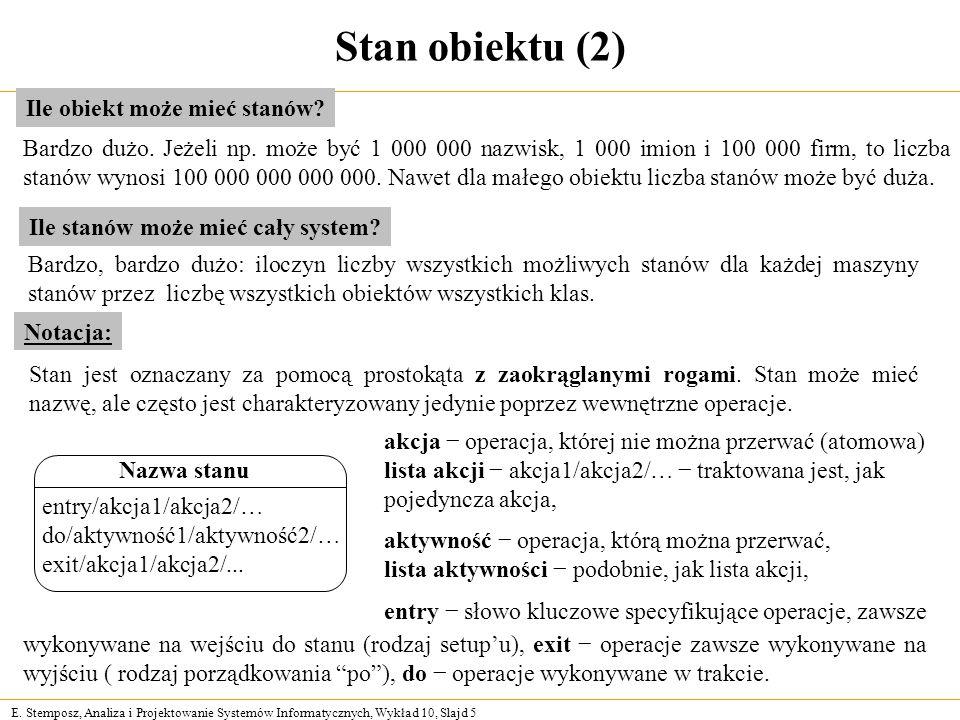 E. Stemposz, Analiza i Projektowanie Systemów Informatycznych, Wykład 10, Slajd 5 Stan obiektu (2) Notacja: Stan jest oznaczany za pomocą prostokąta z