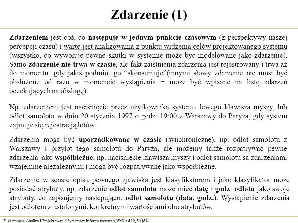 E. Stemposz, Analiza i Projektowanie Systemów Informatycznych, Wykład 10, Slajd 8 Zdarzenie (1) Np.