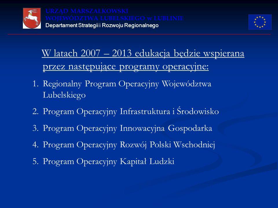 URZĄD MARSZAŁKOWSKI WOJEWÓDZTWA LUBELSKIEGO w LUBLINIE Departament Strategii i Rozwoju Regionalnego W latach 2007 – 2013 edukacja będzie wspierana prz