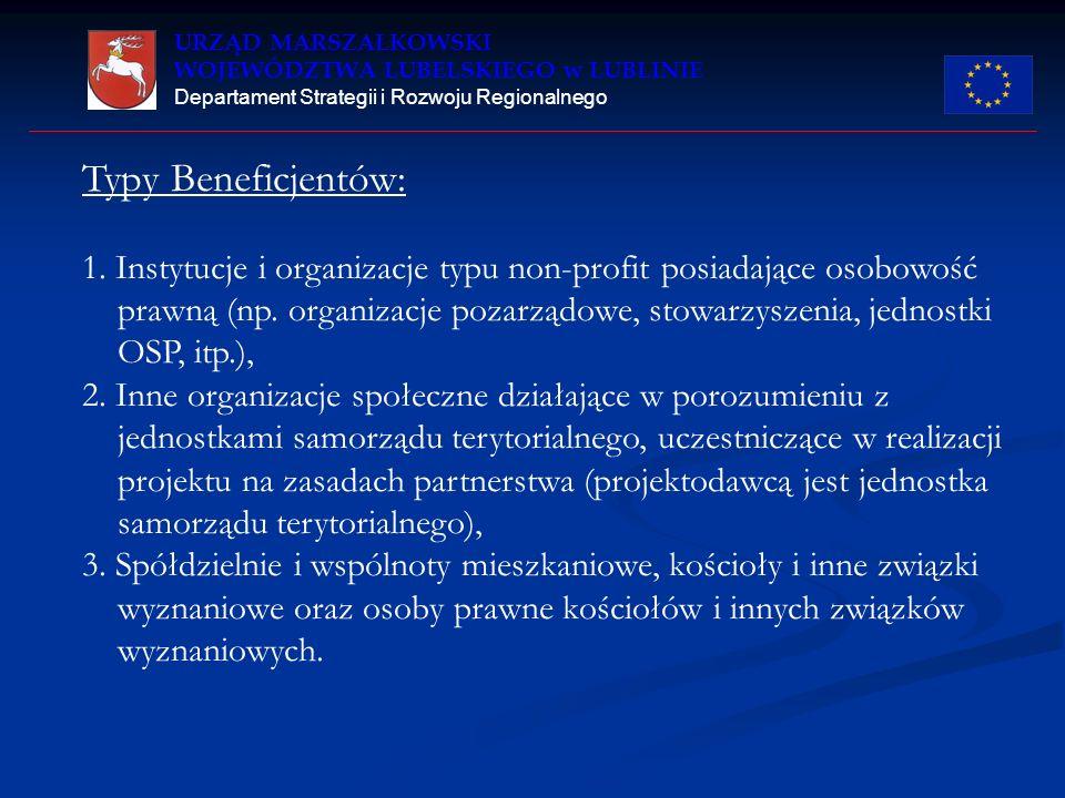 URZĄD MARSZAŁKOWSKI WOJEWÓDZTWA LUBELSKIEGO w LUBLINIE Departament Strategii i Rozwoju Regionalnego Typy Beneficjentów: 1.