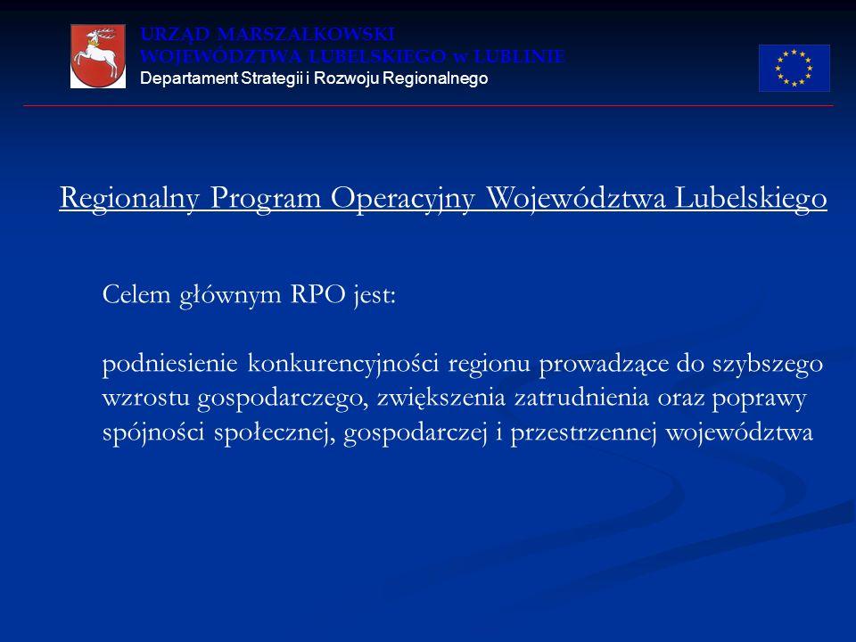URZĄD MARSZAŁKOWSKI WOJEWÓDZTWA LUBELSKIEGO w LUBLINIE Departament Strategii i Rozwoju Regionalnego Regionalny Program Operacyjny Województwa Lubelski