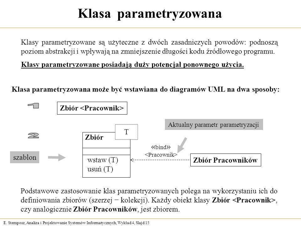 E. Stemposz, Analiza i Projektowanie Systemów Informatycznych, Wykład 4, Slajd 15 Klasa parametryzowana Klasy parametryzowane są użyteczne z dwóch zas