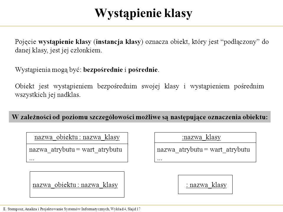 E. Stemposz, Analiza i Projektowanie Systemów Informatycznych, Wykład 4, Slajd 17 Wystąpienie klasy Pojęcie wystąpienie klasy (instancja klasy) oznacz