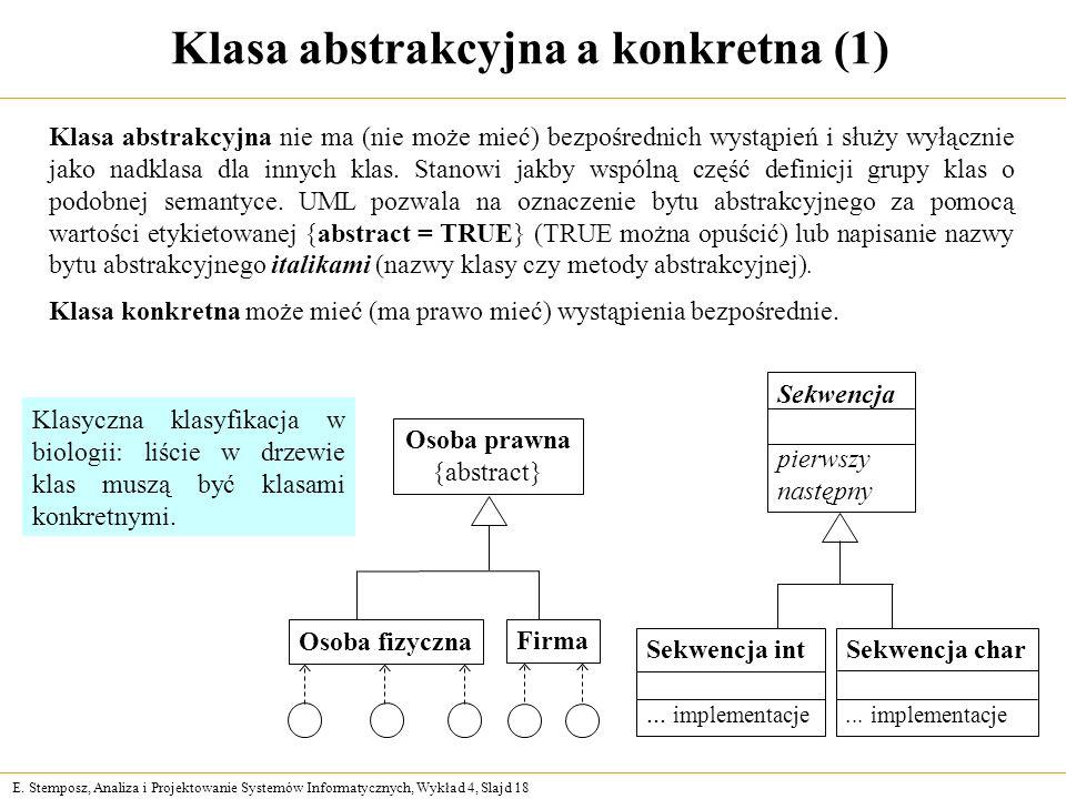 E. Stemposz, Analiza i Projektowanie Systemów Informatycznych, Wykład 4, Slajd 18 Klasa abstrakcyjna a konkretna (1) Osoba prawna {abstract} Osoba fiz