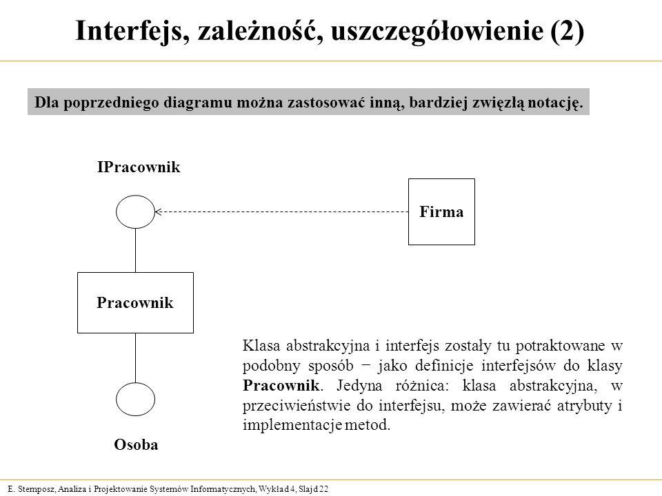 E. Stemposz, Analiza i Projektowanie Systemów Informatycznych, Wykład 4, Slajd 22 Interfejs, zależność, uszczegółowienie (2) Dla poprzedniego diagramu