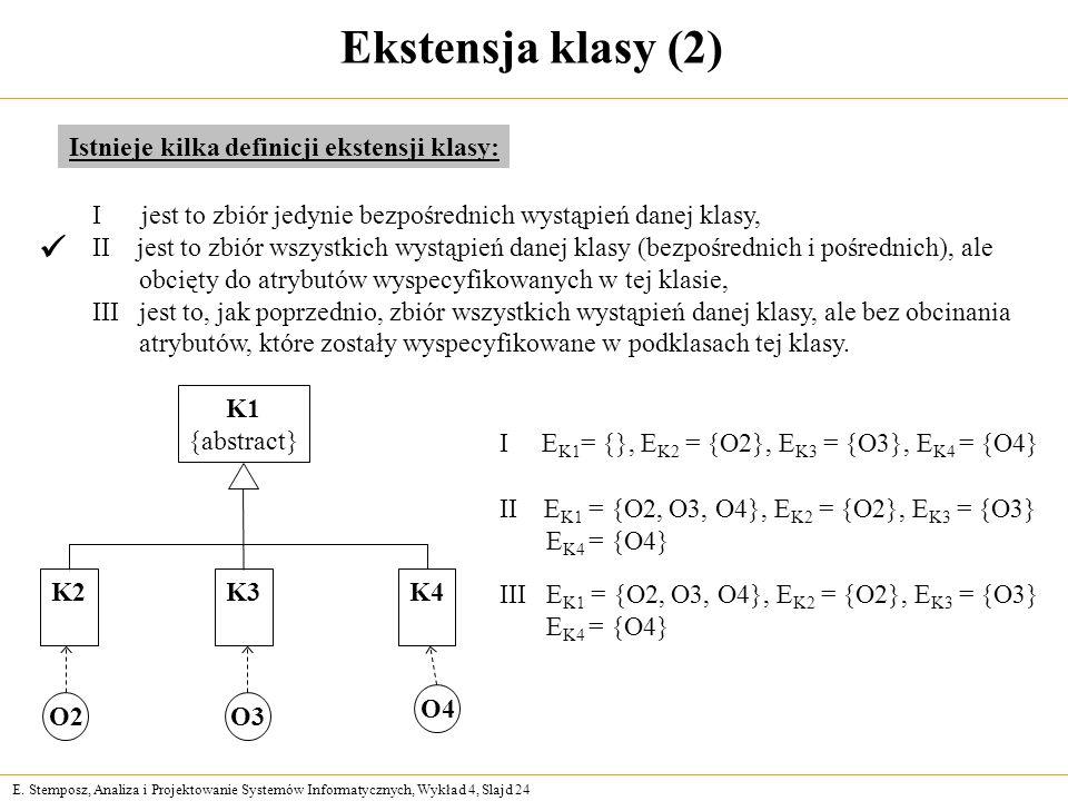 E. Stemposz, Analiza i Projektowanie Systemów Informatycznych, Wykład 4, Slajd 24 Ekstensja klasy (2) Istnieje kilka definicji ekstensji klasy: I jest