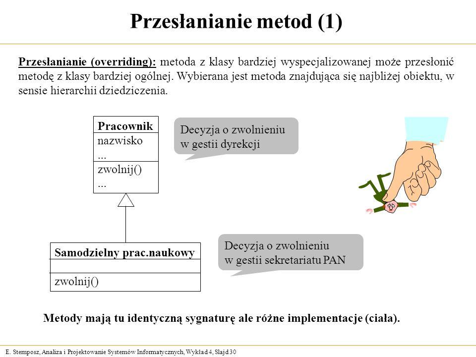E. Stemposz, Analiza i Projektowanie Systemów Informatycznych, Wykład 4, Slajd 30 Przesłanianie metod (1) Przesłanianie (overriding): metoda z klasy b