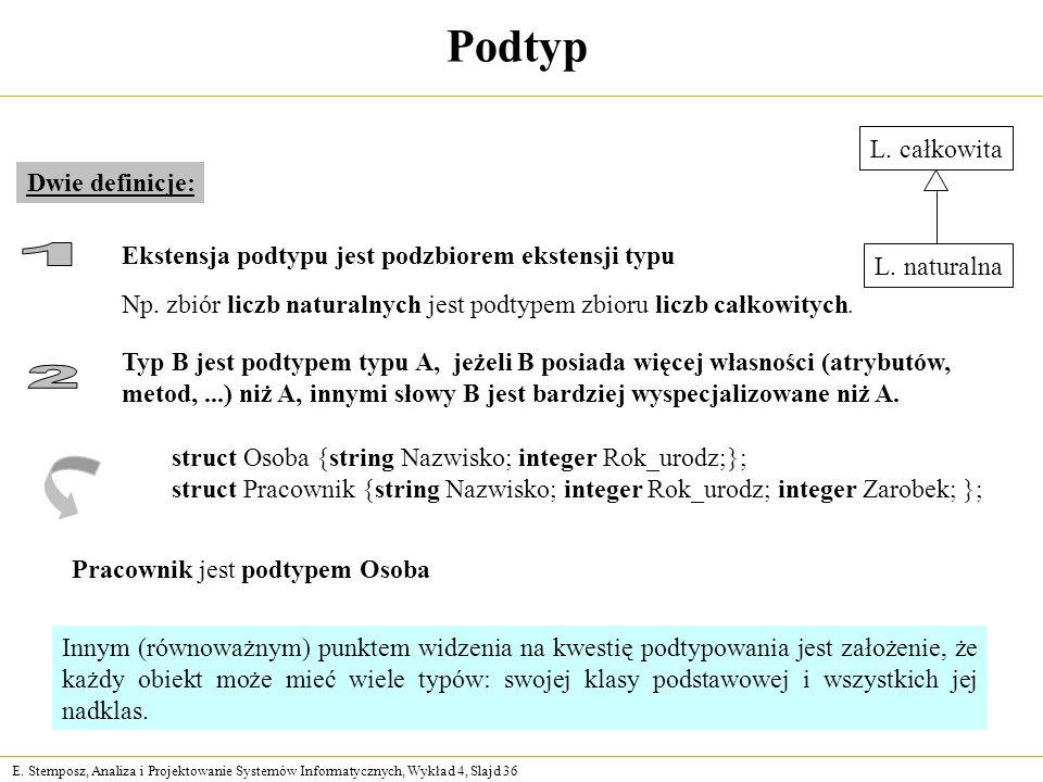 E. Stemposz, Analiza i Projektowanie Systemów Informatycznych, Wykład 4, Slajd 36 Podtyp Dwie definicje: Innym (równoważnym) punktem widzenia na kwest