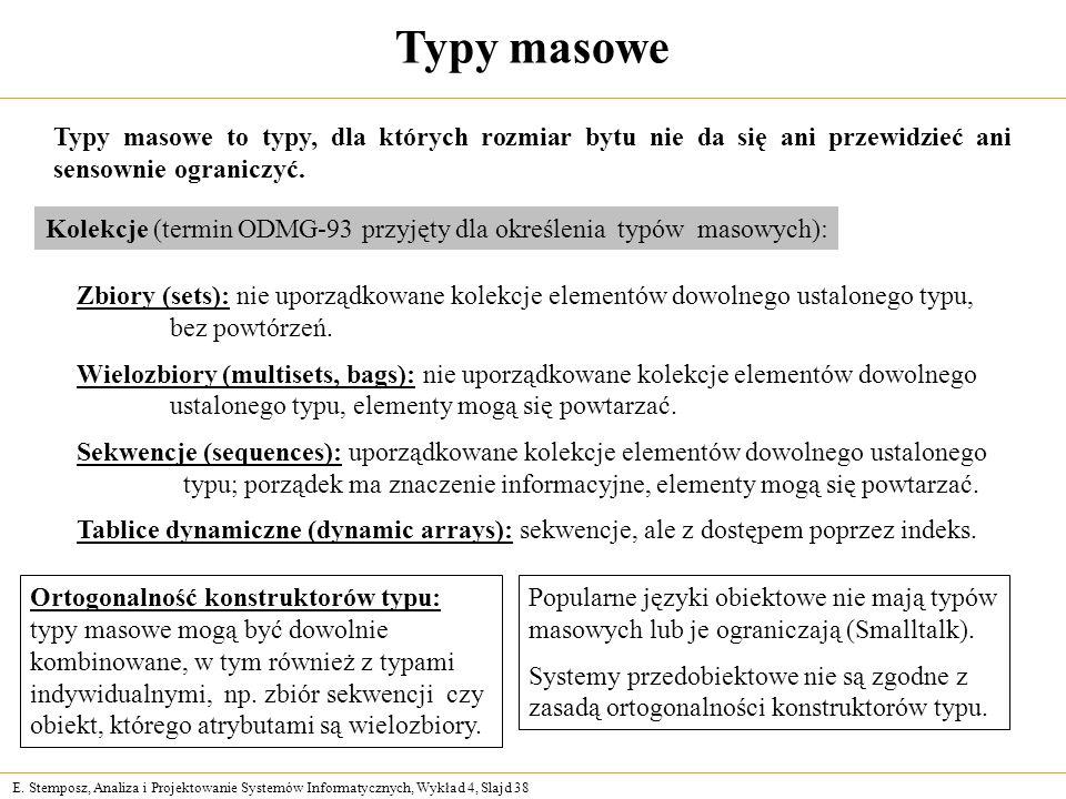 E. Stemposz, Analiza i Projektowanie Systemów Informatycznych, Wykład 4, Slajd 38 Typy masowe Kolekcje (termin ODMG-93 przyjęty dla określenia typów m
