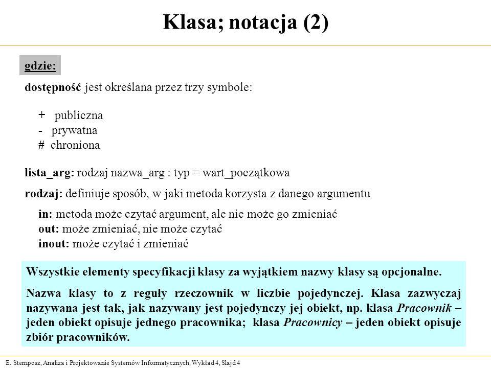 E. Stemposz, Analiza i Projektowanie Systemów Informatycznych, Wykład 4, Slajd 4 Klasa; notacja (2) gdzie: rodzaj: definiuje sposób, w jaki metoda kor