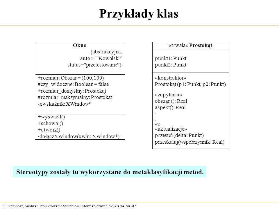 E. Stemposz, Analiza i Projektowanie Systemów Informatycznych, Wykład 4, Slajd 5 Przykłady klas Okno {abstrakcyjna, autor= Kowalski status=przetestowa