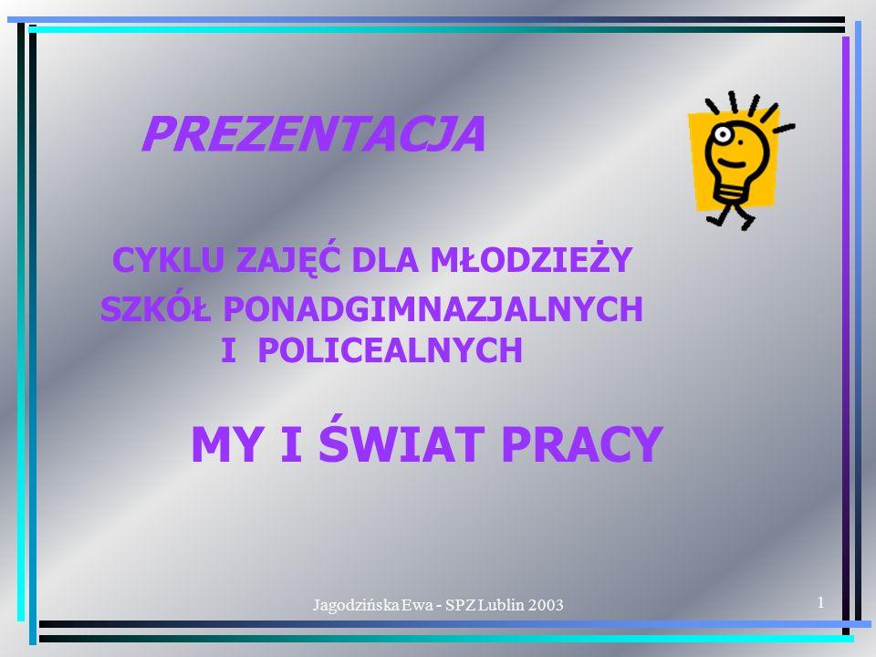 Jagodzińska Ewa - SPZ Lublin 20032 ZAPOZNANIE UCZNIÓW Z PRAWAMI I WYMAGANIAMI RYNKU PRACY BĘDĄCYMI WARUNKAMI ODNIESIENIA SUKCESU ZAWODOWEGO CEL ZAJĘĆ