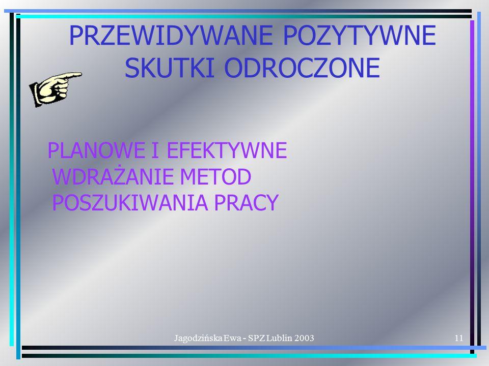 Jagodzińska Ewa - SPZ Lublin 200311 PRZEWIDYWANE POZYTYWNE SKUTKI ODROCZONE PLANOWE I EFEKTYWNE WDRAŻANIE METOD POSZUKIWANIA PRACY