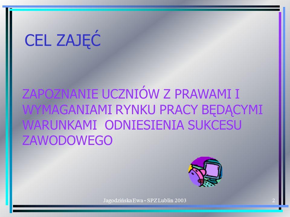 Jagodzińska Ewa - SPZ Lublin 200313 PRZEWIDYWANE POZYTYWNE SKUTKI ODROCZONE WYELIMINOWANIE NIEKORZYSTNYCH NAWYKÓW ZACHOWANIA ORAZ CECH OSOBOWOŚCI UTRUDNIAJĄCYCH ZNALEZIENIE PRACY