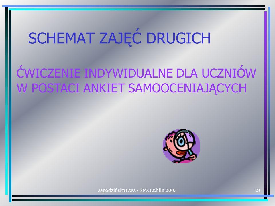 Jagodzińska Ewa - SPZ Lublin 200321 SCHEMAT ZAJĘĆ DRUGICH ĆWICZENIE INDYWIDUALNE DLA UCZNIÓW W POSTACI ANKIET SAMOOCENIAJĄCYCH