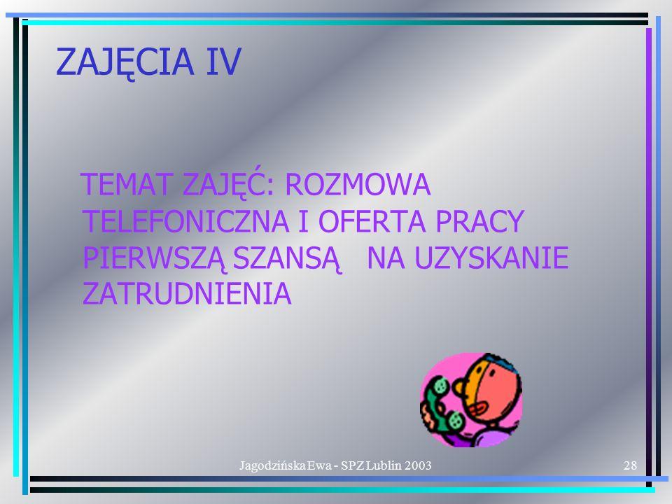 Jagodzińska Ewa - SPZ Lublin 200328 ZAJĘCIA IV TEMAT ZAJĘĆ: ROZMOWA TELEFONICZNA I OFERTA PRACY PIERWSZĄ SZANSĄ NA UZYSKANIE ZATRUDNIENIA