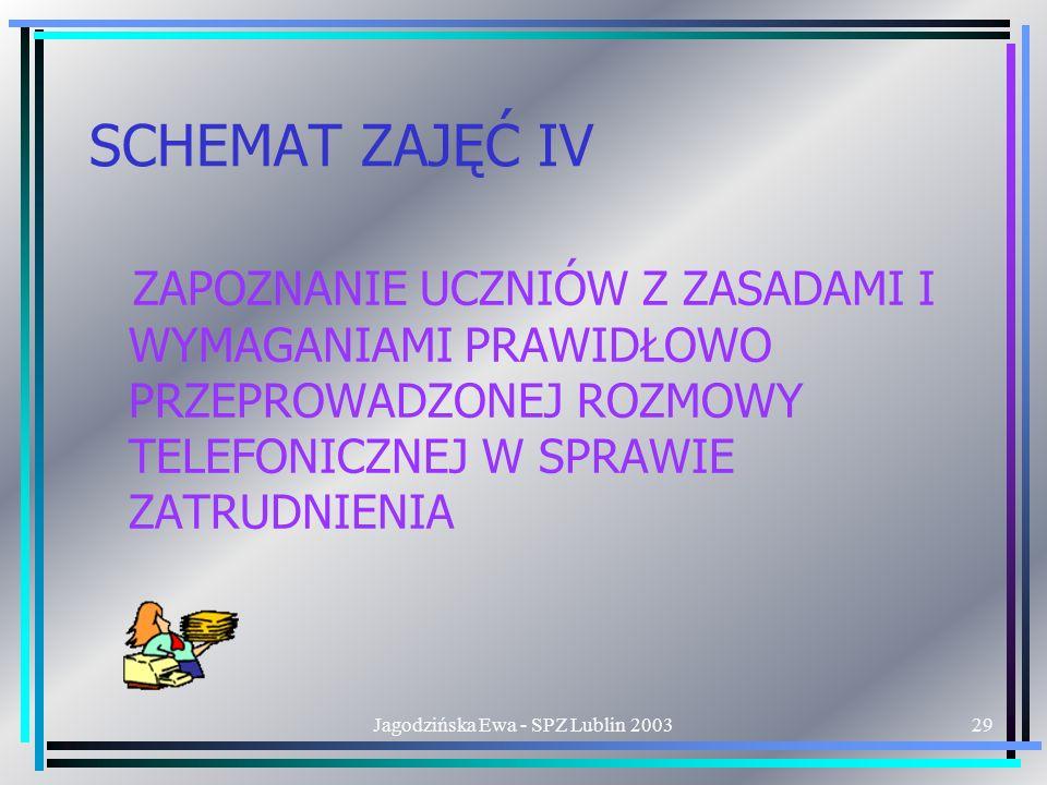 Jagodzińska Ewa - SPZ Lublin 200329 SCHEMAT ZAJĘĆ IV ZAPOZNANIE UCZNIÓW Z ZASADAMI I WYMAGANIAMI PRAWIDŁOWO PRZEPROWADZONEJ ROZMOWY TELEFONICZNEJ W SPRAWIE ZATRUDNIENIA