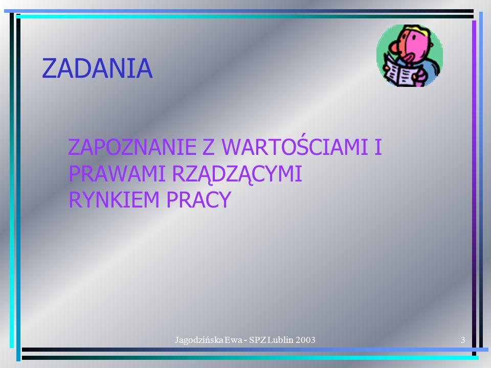 Jagodzińska Ewa - SPZ Lublin 20033 ZADANIA ZAPOZNANIE Z WARTOŚCIAMI I PRAWAMI RZĄDZĄCYMI RYNKIEM PRACY