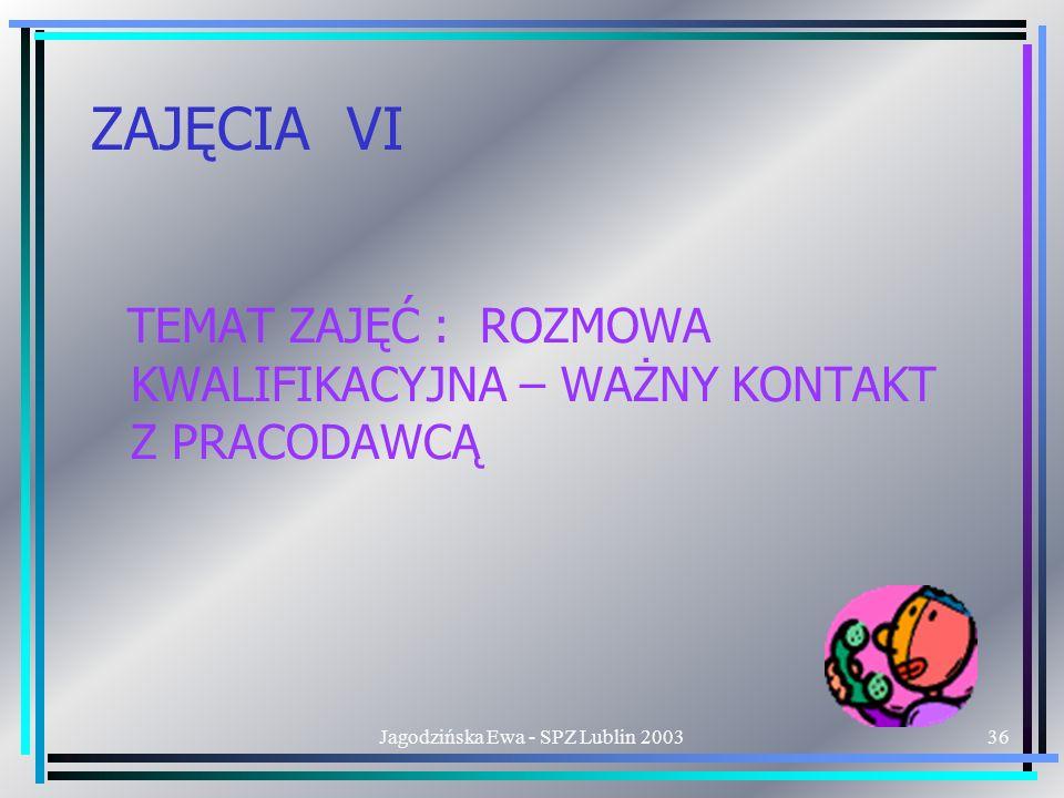 Jagodzińska Ewa - SPZ Lublin 200336 ZAJĘCIA VI TEMAT ZAJĘĆ : ROZMOWA KWALIFIKACYJNA – WAŻNY KONTAKT Z PRACODAWCĄ