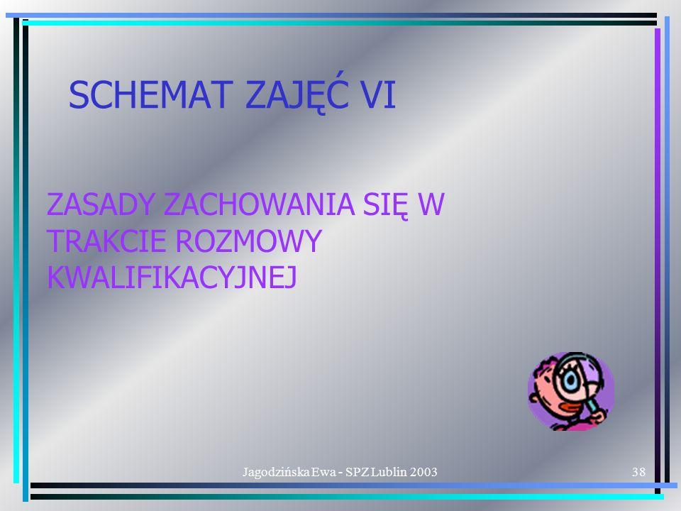Jagodzińska Ewa - SPZ Lublin 200338 SCHEMAT ZAJĘĆ VI ZASADY ZACHOWANIA SIĘ W TRAKCIE ROZMOWY KWALIFIKACYJNEJ