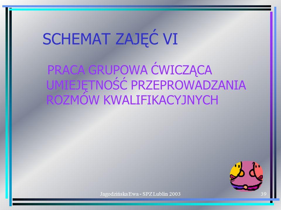 Jagodzińska Ewa - SPZ Lublin 200339 SCHEMAT ZAJĘĆ VI PRACA GRUPOWA ĆWICZĄCA UMIEJĘTNOŚĆ PRZEPROWADZANIA ROZMÓW KWALIFIKACYJNYCH