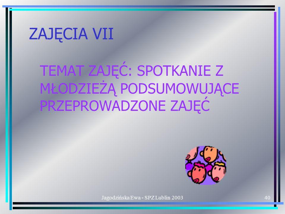 Jagodzińska Ewa - SPZ Lublin 200340 ZAJĘCIA VII TEMAT ZAJĘĆ: SPOTKANIE Z MŁODZIEŻĄ PODSUMOWUJĄCE PRZEPROWADZONE ZAJĘĆ