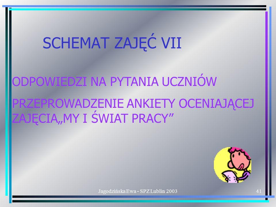 Jagodzińska Ewa - SPZ Lublin 200341 SCHEMAT ZAJĘĆ VII ODPOWIEDZI NA PYTANIA UCZNIÓW PRZEPROWADZENIE ANKIETY OCENIAJĄCEJ ZAJĘCIAMY I ŚWIAT PRACY