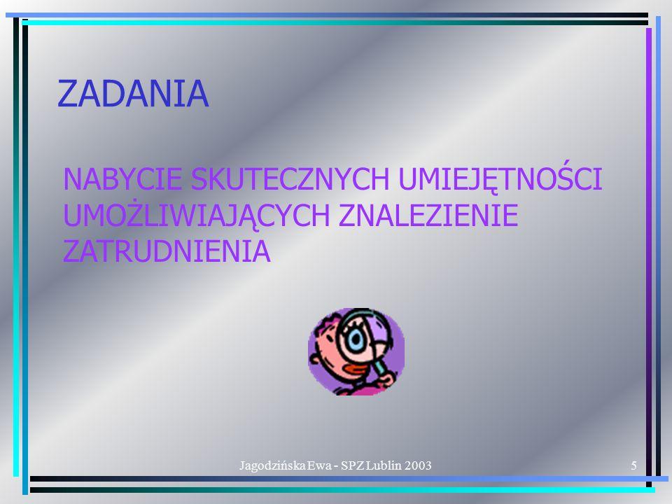 Jagodzińska Ewa - SPZ Lublin 20035 ZADANIA NABYCIE SKUTECZNYCH UMIEJĘTNOŚCI UMOŻLIWIAJĄCYCH ZNALEZIENIE ZATRUDNIENIA