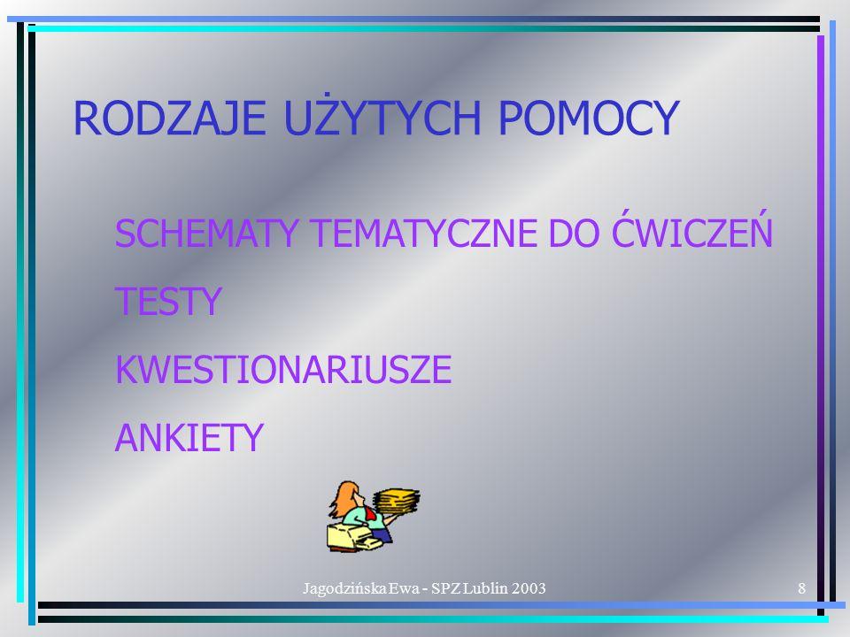 Jagodzińska Ewa - SPZ Lublin 20038 RODZAJE UŻYTYCH POMOCY SCHEMATY TEMATYCZNE DO ĆWICZEŃ TESTY KWESTIONARIUSZE ANKIETY